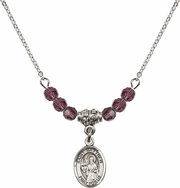 St Matthew the Apostle Swarovski Beaded February Amethyst Necklace by Bliss Mfg