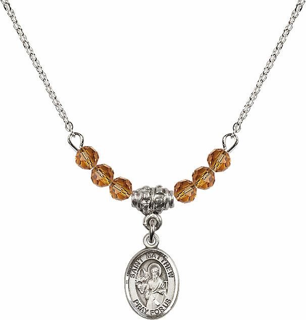 St Matthew the Apostle Topaz Swarovski Beaded Necklace by Bliss Mfg