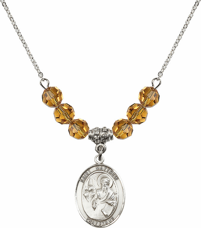 St Matthew the Apostle Topaz Swarovski Necklace by Bliss Mfg