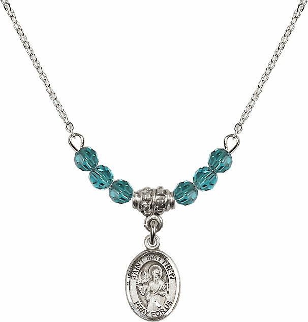 St Matthew the Apostle Zircon Swarovski Beaded Necklace by Bliss Mfg