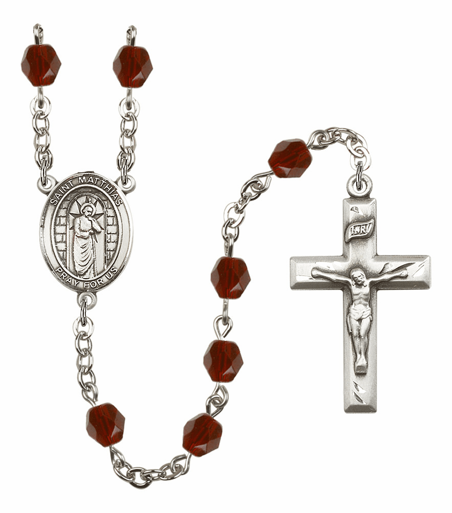 St Matthias the Apostle Silver Plate Birthstone Crystal Prayer Rosary by Bliss
