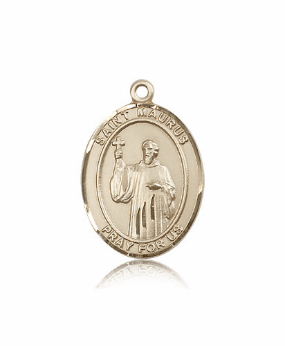 St Maurus Patron Saint 14kt Gold Medal by Bliss