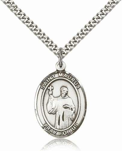 St. Maurus Patron Sterling Silver Saint Medal Necklace by Bliss Mfg