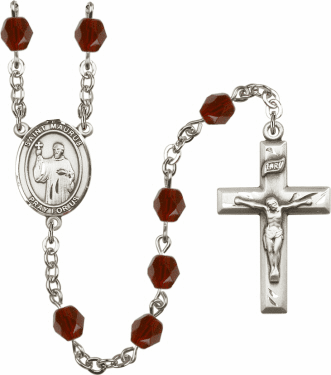 St Maurus Silver Plate Birthstone Crystal Prayer Rosary by Bliss
