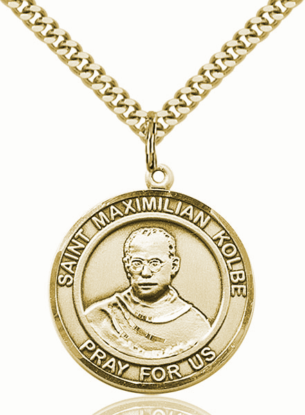 St Maximilian Kolbe 14kt Gold-filled Round Patron Saint Medal Necklace by Bliss