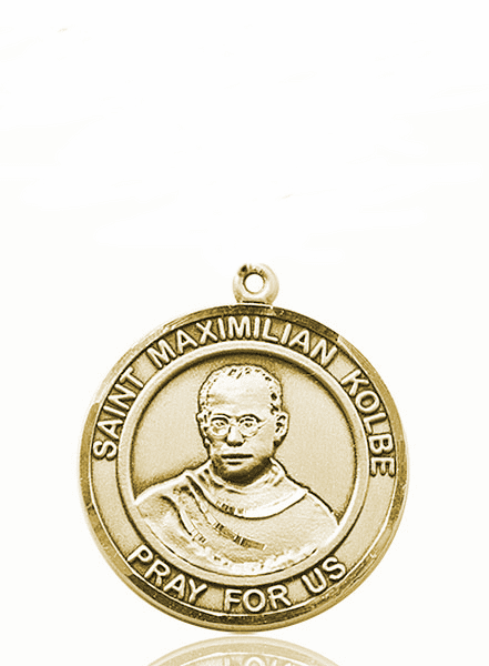 St Maximilian Kolbe 14kt Gold Round Patron Saint Medal Necklace by Bliss
