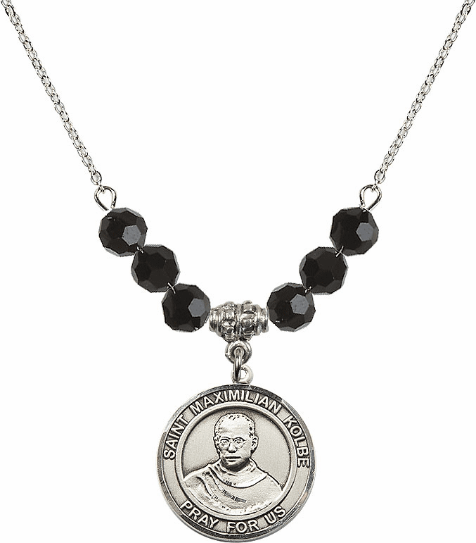 St Maximilian Kolbe Beaded Charm Necklace Jewelry