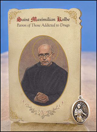 St Maximilian Kolbe Drug Addiction Healing Holy Cards w/Medals 6 pcs by Milagros