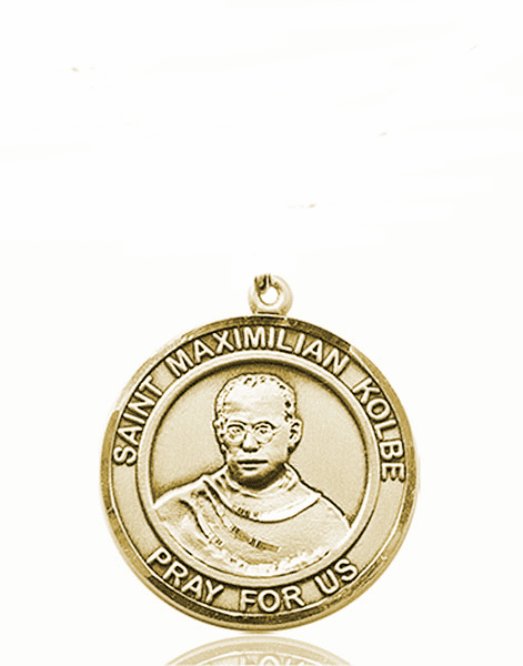 St Maximilian Kolbe Medium Patron Saint 14kt Gold Medal by Bliss