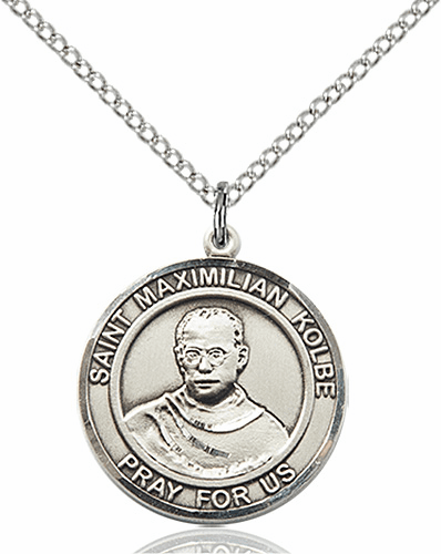 St Maximilian Kolbe Medium Patron Saint Sterling Silver Medal by Bliss