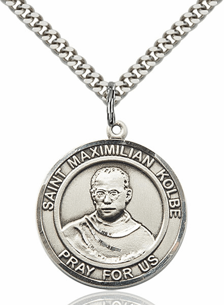 St Maximilian Kolbe Pewter Round Patron Saint Medal Necklace by Bliss