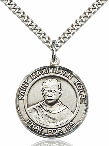 St Maximilian Kolbe Round Patron Saint Medal Necklace by Bliss
