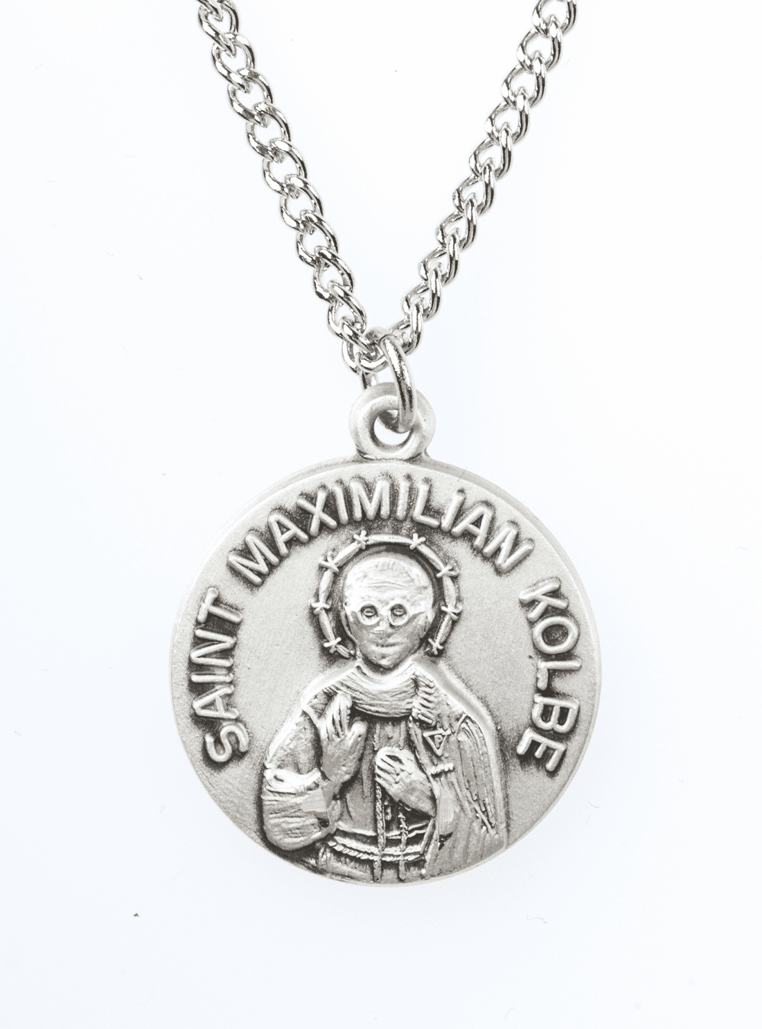 "St Maximilian Kolbe Saint Medal Pendant w/18"" Chain by Jeweled Cross"