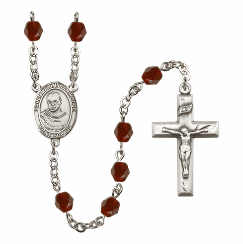 St Maximilian Kolbe Silver Plate Birthstone Crystal Prayer Rosary by Bliss