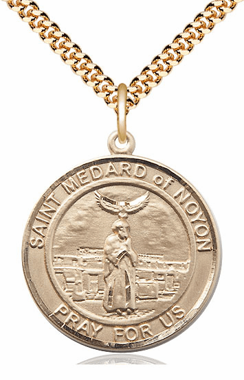 St Medard of Noyon Patron Saint 14kt Gold-Filled Round Medal Necklace by Bliss