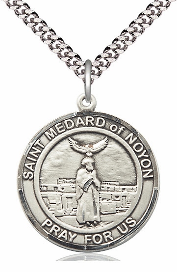 St Medard of Noyon Patron Saint Round Sterling Medal Necklace By Bliss