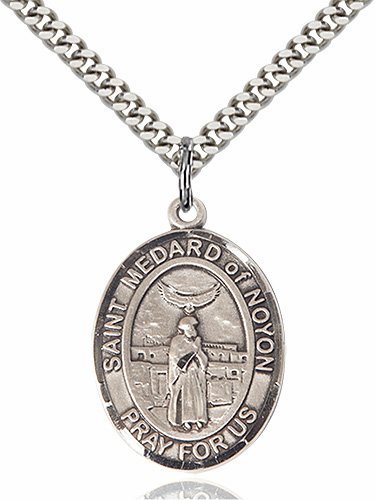 St Medard of Noyon Patron Saint Sterling Silver Medal Necklace By Bliss