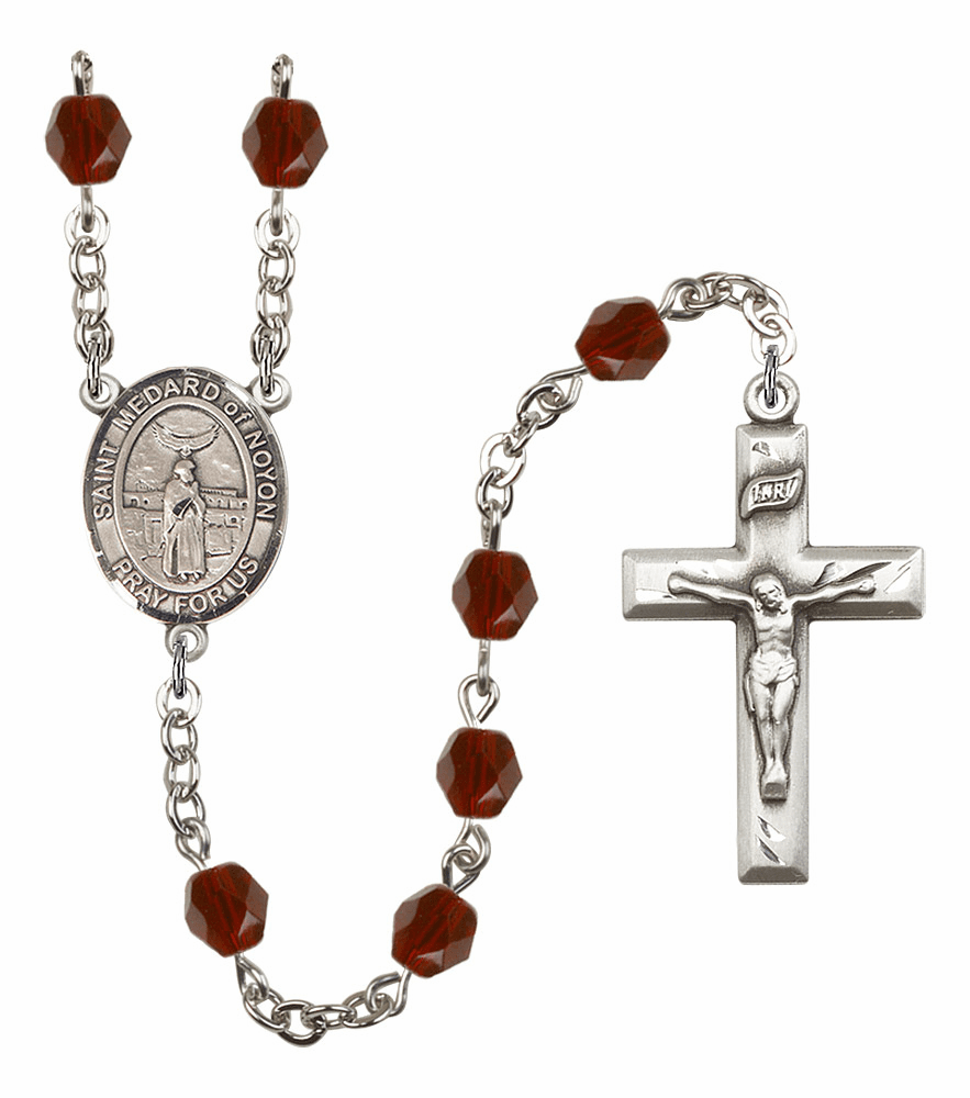 St Medard of Noyon Silver Plate Birthstone Crystal Prayer Rosary by Bliss