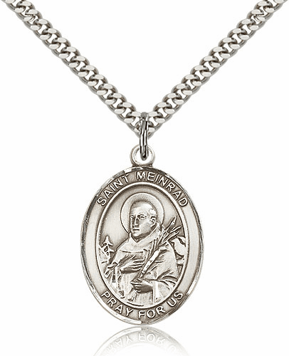 St Meinrad of Einsideln Pewter Patron Saint Necklace by Bliss