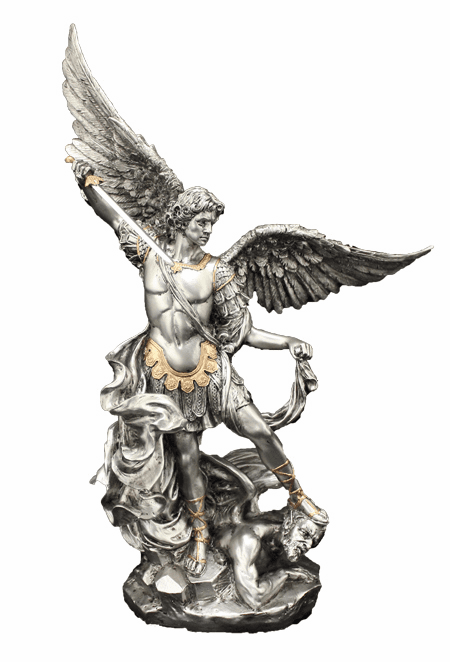"St Michael 10"" Pewter Finish w/Gold Highlights Statue by Veronese"