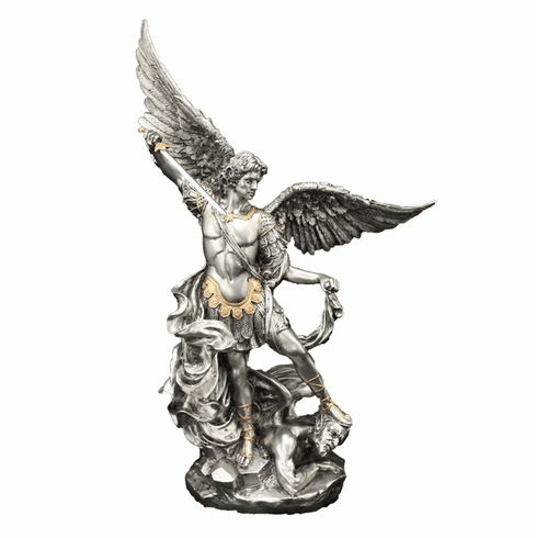 """St Michael 10"""" Pewter Finish w/Gold Highlights Statue by Veronese"""