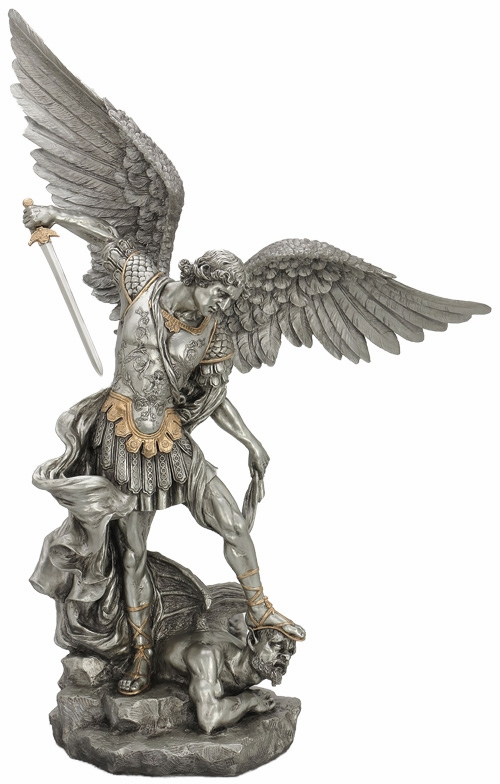 "St Michael 29"" Pewter Finish w/Gold Highlights Statue by Veronese"