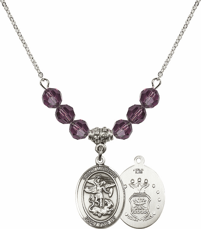 St Michael Air Force Amethyst Swarovski Necklace by Bliss Mfg