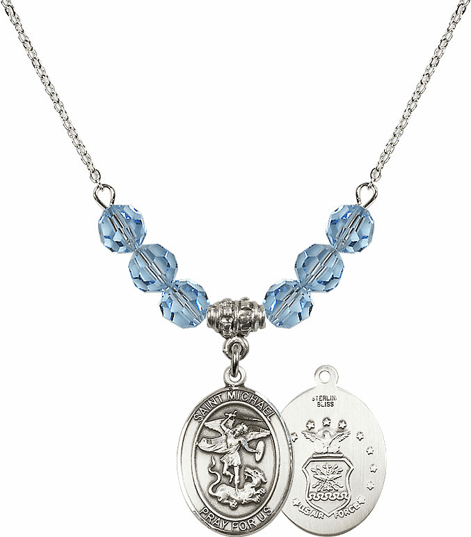 St Michael Air Force Aqua Swarovski Necklace by Bliss Mfg