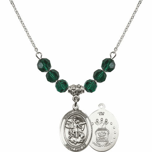 St Michael Air Force Emerald Swarovski Necklace by Bliss Mfg