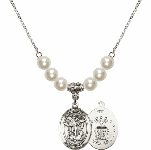 St Michael Air Force Faux Pearl Necklace by Bliss Mfg