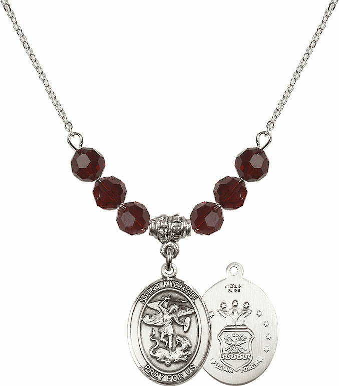 St Michael Air Force Garnet Swarovski Necklace by Bliss Mfg