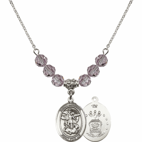 St Michael Air Force Lt Amethyst Swarovski Necklace by Bliss Mfg