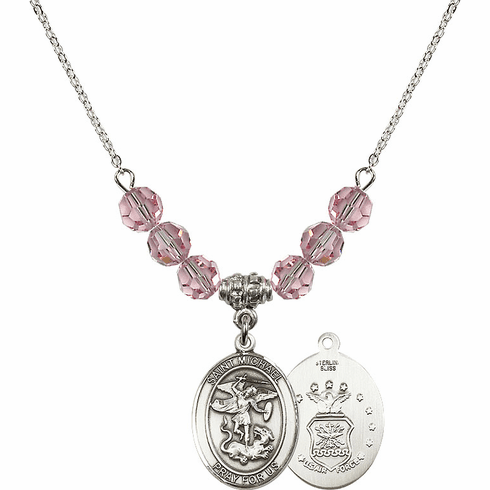 St Michael Air Force Lt Rose Swarovski Necklace by Bliss Mfg