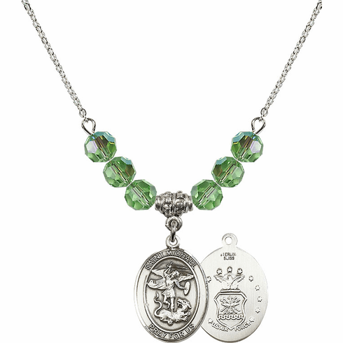 St Michael Air Force Peridot Swarovski Necklace by Bliss Mfg