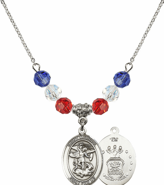 St Michael Air Force Red, White and Blue Swarovski Necklace by Bliss Mfg