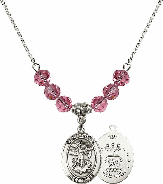 St Michael Air Force Rose Swarovski Necklace by Bliss Mfg