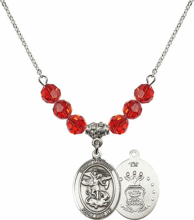 St Michael Air Force Ruby Swarovski Necklace by Bliss Mfg
