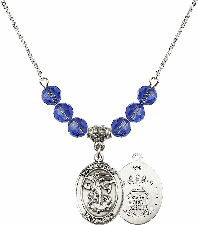 St Michael Air Force Sapphire Swarovski Necklace by Bliss Mfg