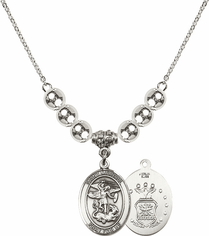 St Michael Air Force Silver Necklace by Bliss Mfg