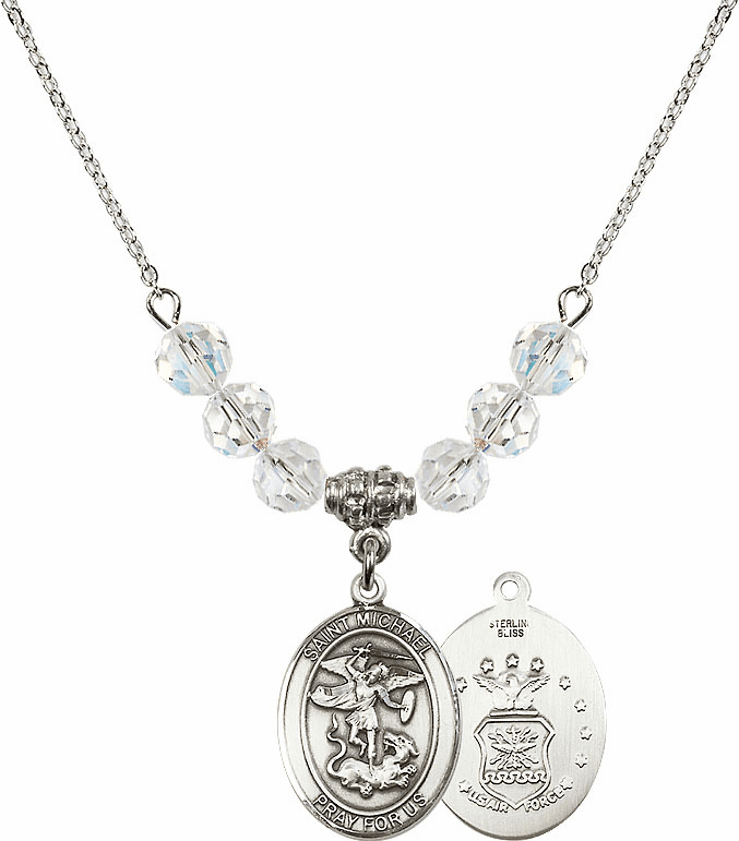 St Michael Air Force Swarovski Necklace by Bliss Mfg