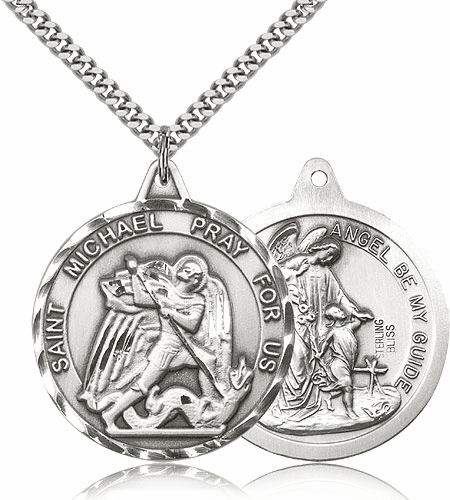 St Michael and Guardian Angel on Back Sterling Silver Pendant by Bliss