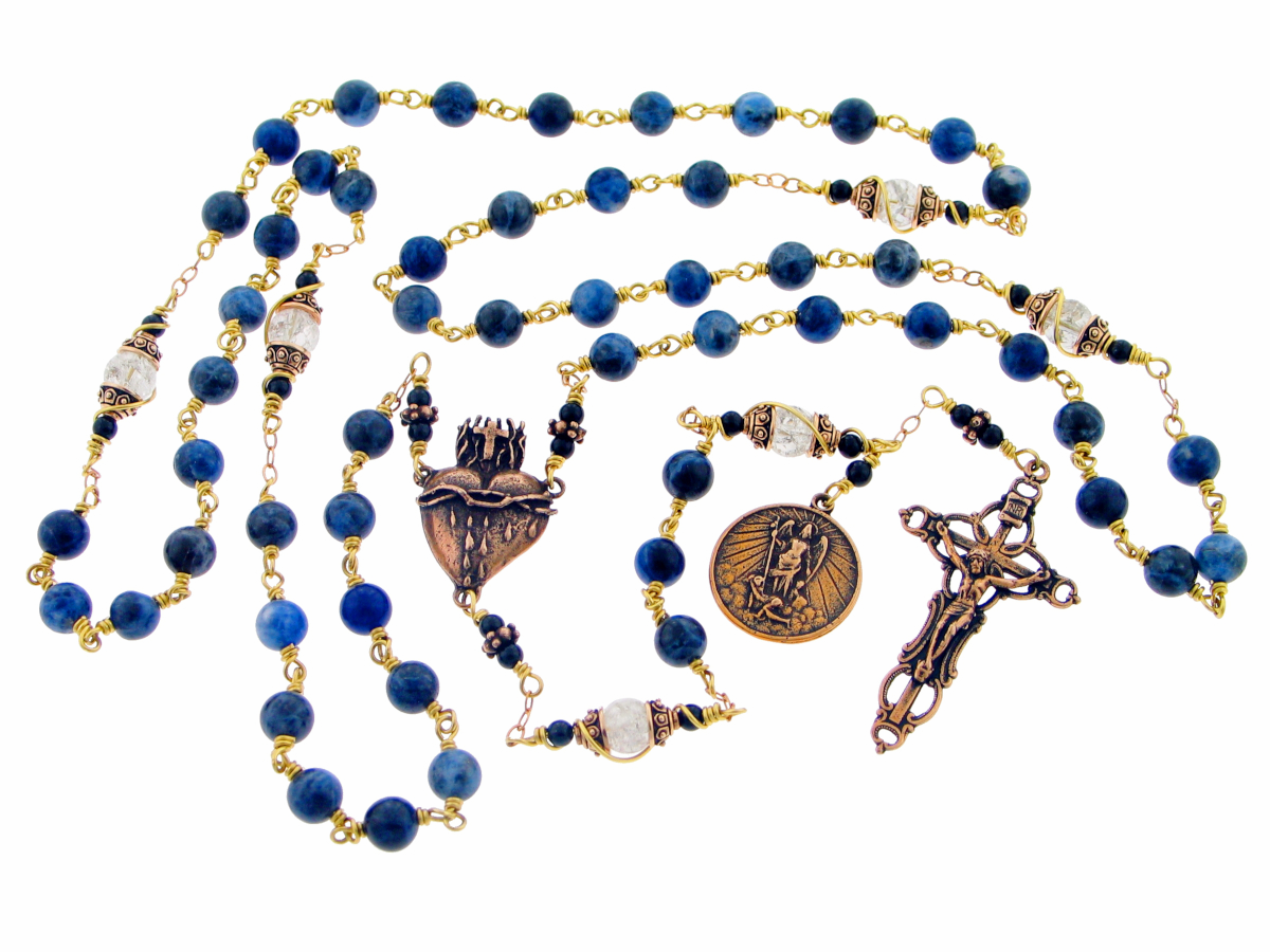 St Michael and Sacred Heart Sodalite Bronze Wire Wrapped Rosary by Heavenly Divine Rosaries