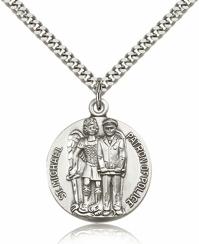 St Michael Archangel Police Officer Pewter Patron Saint Necklace