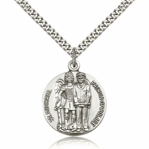 St Michael Archangel Police Officer Silver-filled Patron Saint Necklace