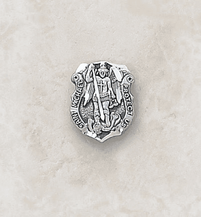 St Michael Archangel Sterling Silver Lapel Pin by Creed Jewelry