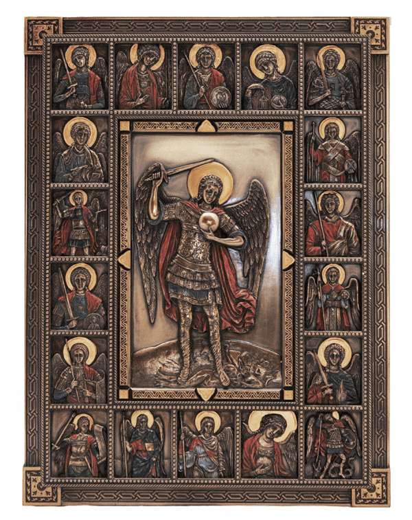 St Michael Archangel with other Angels Wall Plaque by Veronese Collection