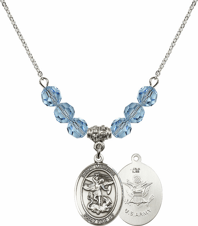 St Michael Army Aqua Swarovski Necklace by Bliss Mfg