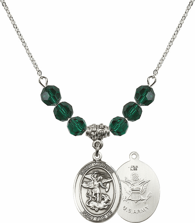 St Michael Army Emerald Swarovski Necklace by Bliss Mfg