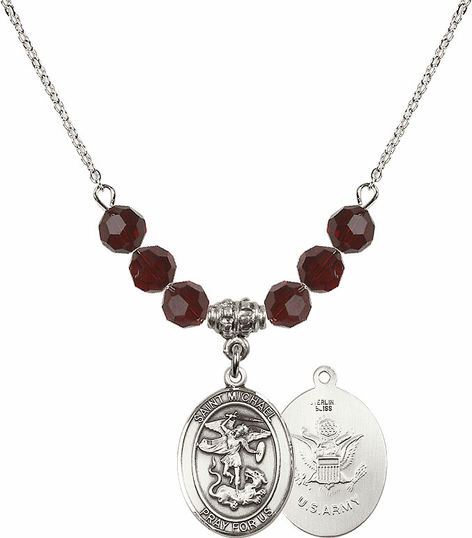 St Michael Army Garnet Swarovski Necklace by Bliss Mfg