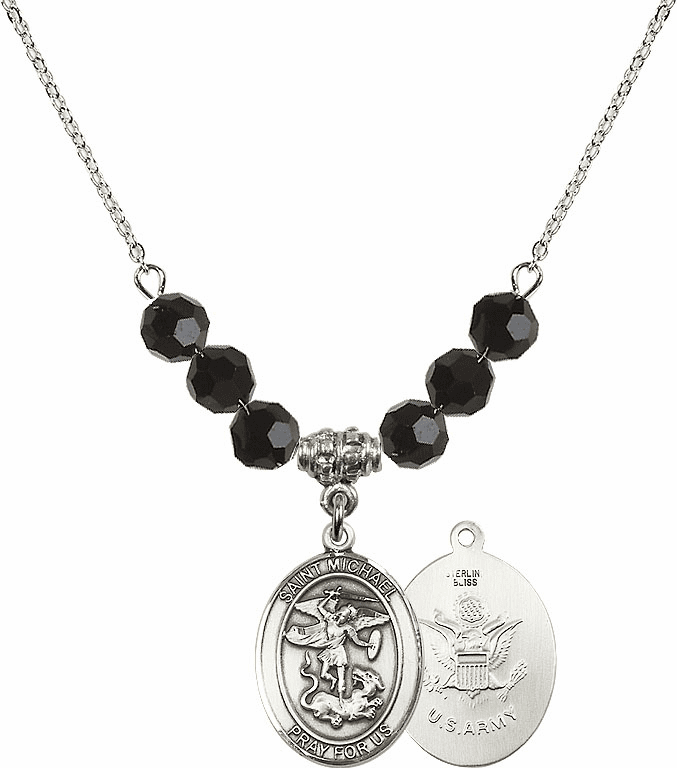 St Michael Army Jet Black Swarovski Necklace by Bliss Mfg